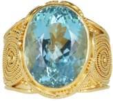 Luna Felix Vintage 18K & 22K Yellow Gold 9.41ct Aqua Granulated Ring Size 8