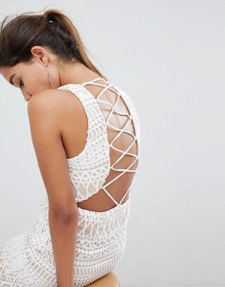 Love Triangle Stripe Detail Lace Mini Dress