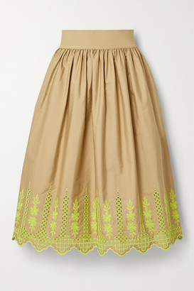 Adam Lippes Gathered Broderie Anglaise Cotton-blend Poplin Midi Skirt - Sand