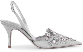 Rene Caovilla Veneziana Embellished Lace & Glitter Leather Slingback Pumps