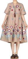Mordenmiss Women's Summer Embroidery Empire Waist Dress L