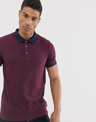 French Connection organic cotton polo with contrast collar in navy