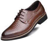 DADAWEN Men's Pointed Toe Lace Up Business/Dress Leather shoes- 8 US