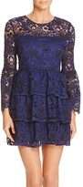 Aqua Two Toned Lace Bell Sleeve Dress
