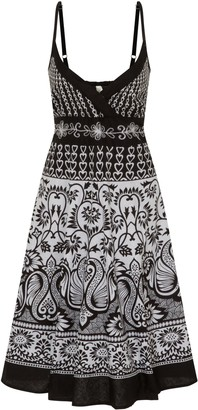 Dannii Matthews Ladies 100% Cotton Swirly Floral & Heart Print Strappy Mid Length Summer Dress with Crossover V Neck