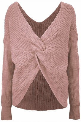 Fashion Star Womens Ladies Front Twisted Knot Slouch Fit Baggy Wrap Over Knitted Jumper Top Dark Wine