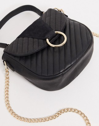 Pieces leather crossbody in black