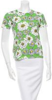 Prada Short Sleeve Floral Print Top