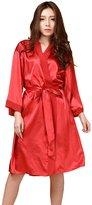 Honeystore Women's Bridesmaid Kimono Robe Short Silk Bathrobe Bridal Sleepwear