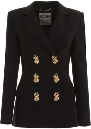 Moschino Dollar Motif Button Double Breasted Blazer
