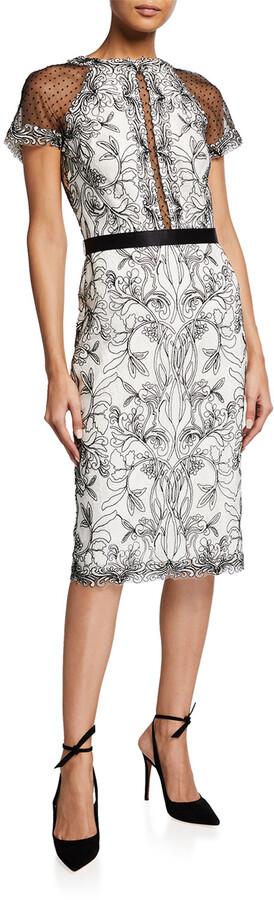 Tadashi Shoji Short-Sleeve Corded Lace Sheath Dress