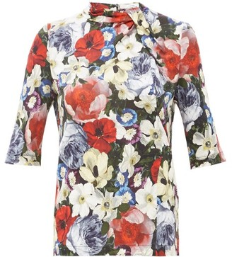 Erdem Kacey Poppy-print Blouse - Black Multi