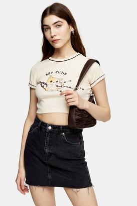 Topshop Womens Hey Cutie T-Shirt - Cream