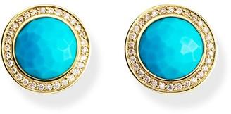 Ippolita 18kt yellow gold mini Lollipop diamond and turquoise studs