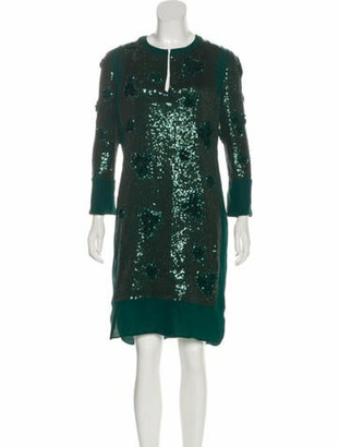 Valentino Sequined Long Sleeve Dress