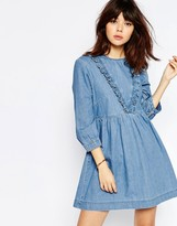 Asos Denim Smock Dress with Ruffle Detail in Mid Blue