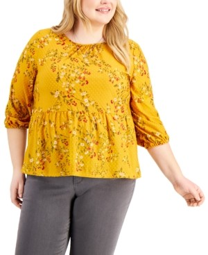 Style&Co. Style & Co Plus Size Textured Peplum Top, Created for Macy's