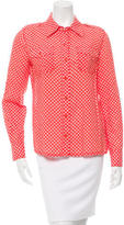 Tory Burch Printed Long Sleeve Button-Up Top