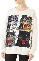 Gucci Tiger Face Oversize Sweatshirt, White