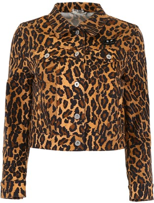 Miu Miu Leopard-printed Denim Jacket