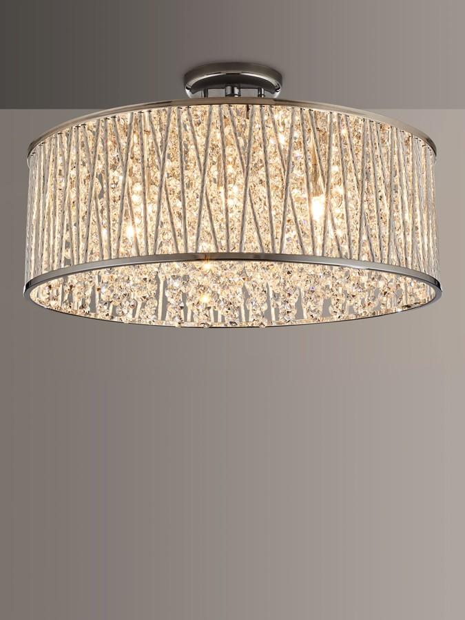 John Lewis & Partners Emilia Large Crystal Drum Flush Ceiling Light