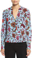 Diane von Furstenberg Long-Sleeve V-Neck Silk Shirt