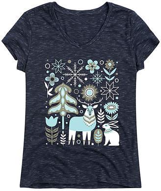 Scandinavian Instant Message Women's Women's Tee Shirts NAVY - Heather Navy Winter Scene V-Neck Tee - Women