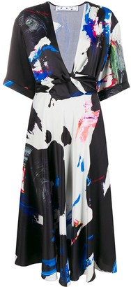Off-White Abstract Print Midi Dress