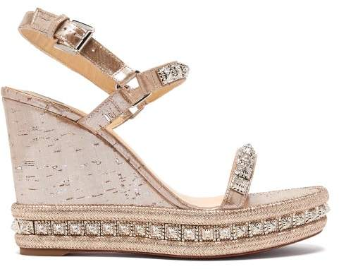 7373c6d95d8 Pyradiams 110 Studded Cork Wedge Sandals - Womens - Silver Gold