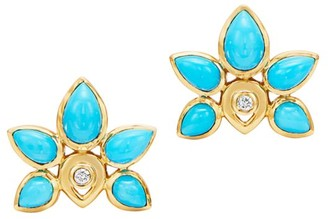 Temple St. Clair CL 18K Yellow Gold, Turquoise & Diamond Lotus Stud Earrings