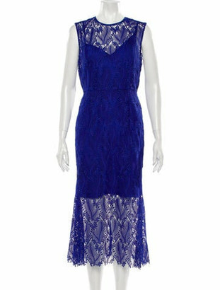 Diane von Furstenberg Lace Pattern Midi Length Dress Blue