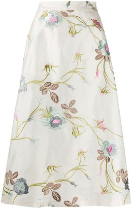 Societe Anonyme A-line embroidered floral skirt
