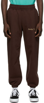 Awake NY Brown Classic Outline Logo Lounge Pants