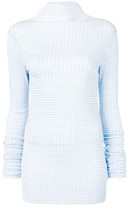 Jil Sander checked high-neck blouse