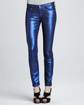 7 For All Mankind Skinny Electric Blue Liquid Metallic Skinny Jeans