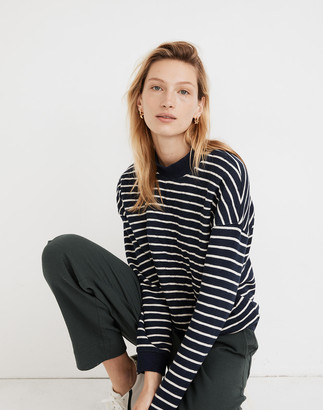 Madewell Quilted Studio Mockneck Sweatshirt in Stripe