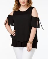 ING Plus Size Cold-Shoulder Tie-Sleeve Top