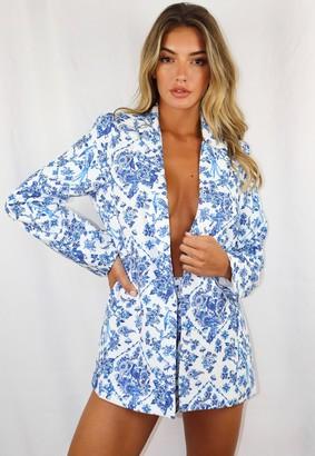 Missguided Blue Porcelain Print Co Ord Boyfriend Blazer