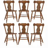 Rejuvenation Set of 6 Hand-Painted Lyre-Back Dining Chairs