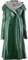 Marni houndstooth collar PVC coat