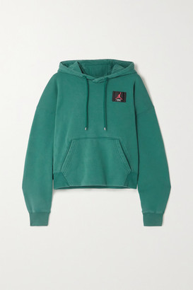 Nike Appliqued Cotton-blend Jersey Hoodie - Teal