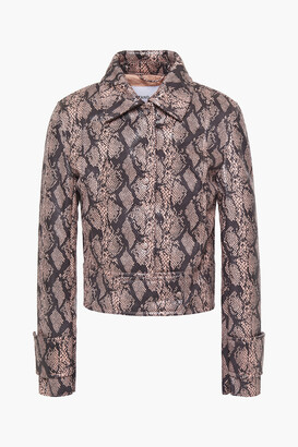 Stand Studio Erin Faux Snake-effect Leather Jacket