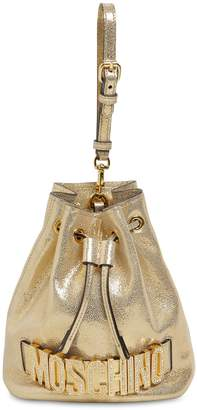 Moschino METALLIC LEATHER BUCKET BAG