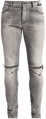 Palm Angels Zipped & Distressed Skinny Jeans