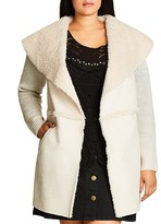 City Chic Faux Shearling Sweater Coat