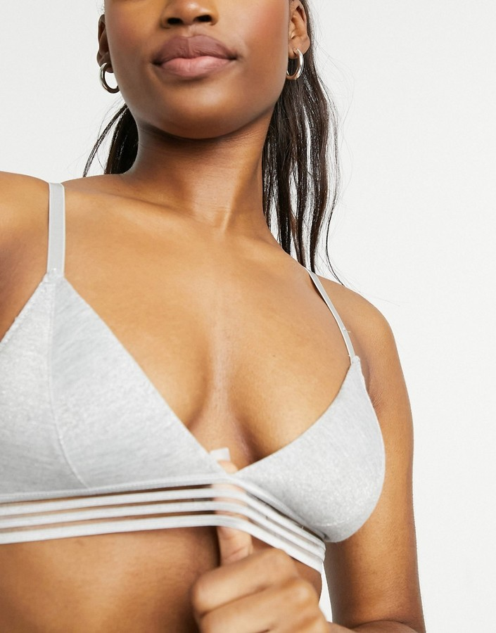 Thumbnail for your product : New Look sparkle marl bralet in mid grey