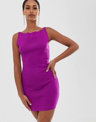 ASOS DESIGN mini dress in structured knit with open back detail
