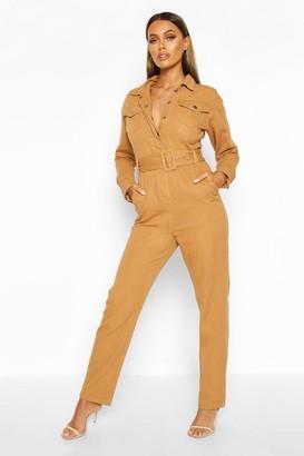 boohoo Long Sleeve Belted Boilersuit