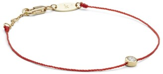 Redline Yellow Gold And Diamond Pure Bracelet With Red Thread