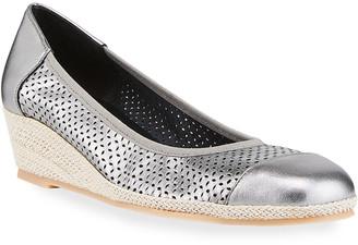 Sesto Meucci Marcus Cap-Toe Metallic Wedge Sandals